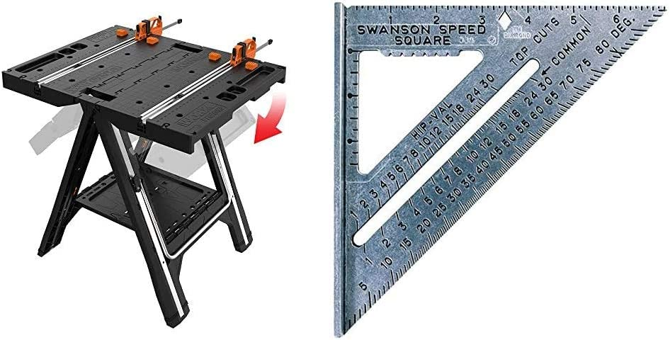 WORX Pegasus Multi-Function Work Table and Sawhorse with Quick Clamps and Holding Pegs – WX051 & Swanson Tool Co S0101 7 Inch Speed Square Tile