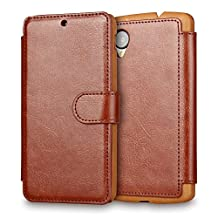 Google Nexus 5 Case,LG Nexus 5 Wallet Case, Tisuns [Layered Dandy] - [Ultra Slim][Wallet Case] - Leather Flip Cover With Credit Card Slot for Google Nexus 5 Case - Nexus 5 CASE (Brown)