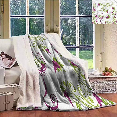 Sunnyhome Winter Quilt Wine Bottle Glass Grapevines Personalized Baby Blanket W59x31L