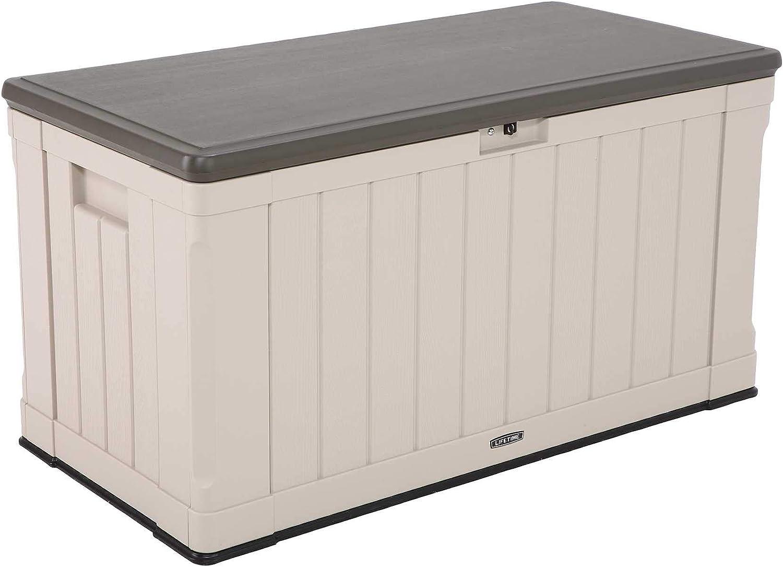 Lifetime 60186 Heavy-Duty Outdoor Storage Deck Box, 116 Gallon, Desert Sand/Brown