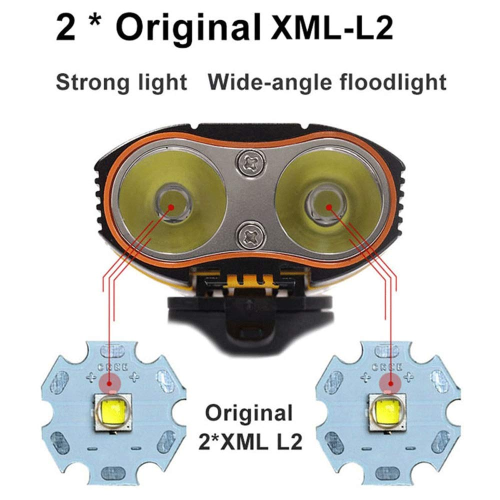 DFRgj Juego de Luces para Bicicleta USB Recargable 6000LM Luz para Bicicleta 2X Luces LED para Bicicleta con LED-L2 con bater/ía Recargable Luz Delantera para Bicicleta Soporte para Manillar