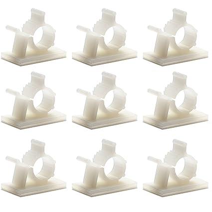 Paquete de 55, sujetacables ajustables Adhesivo sujetacables de nylon, sujetacables,blanco