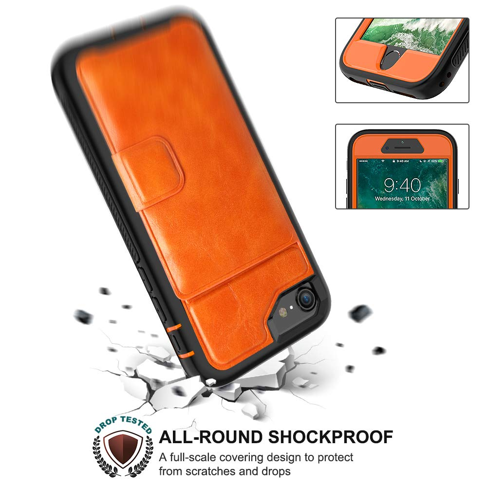 SXcase iPhone 8/7 Case,Classic Leather Wallet Rugged Shockproof Tough Phone Case with Card Holder for Apple iPhone 6s/6 (4.7 inch)[Orange]
