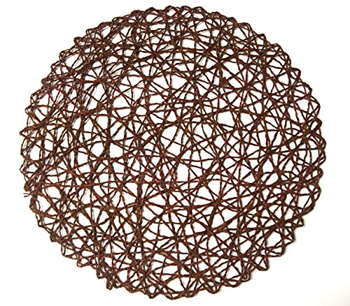 (Round Paper Fiber Woven Place Mats, 100% Paper Fiber 15-Inch , Natural , Set of 12 pcs)