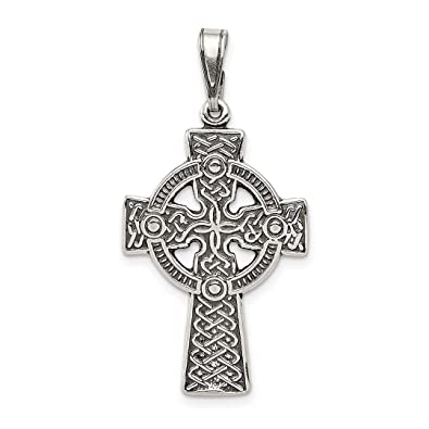 2deb50eef Image Unavailable. Image not available for. Color: 925 Sterling Silver Irish  Claddagh Celtic Knot Cross Religious Pendant Charm Necklace ...
