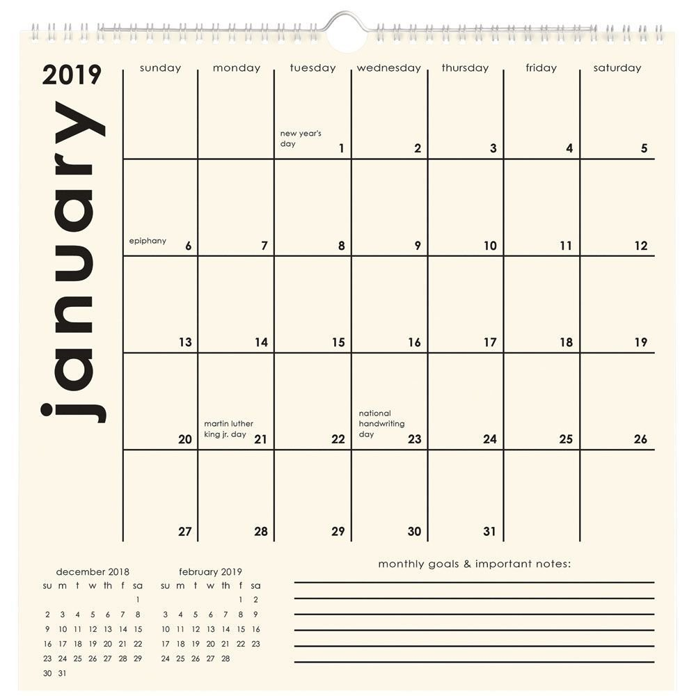 February 2019 Calendar Paper Source Amazon.: Paper Source Classic Grid 2019 Calendar : Office Products