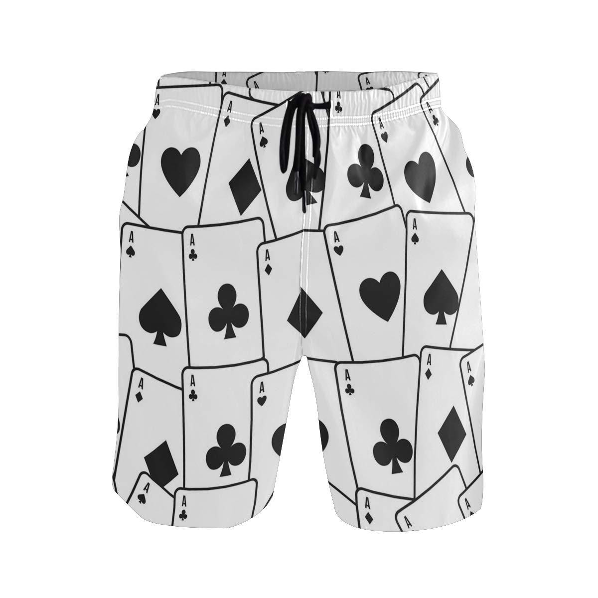 NBTZ ZX Playing Poker Mens Quick Dry Swim Trunks Summer Beach Board Shorts with mesh Lining