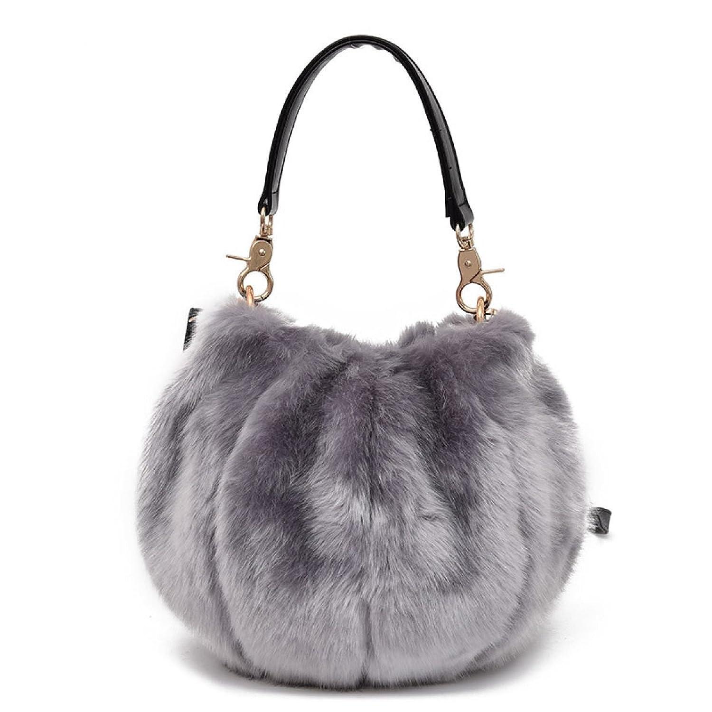 Damen Umhängetasche Wild Kunstpelz Tasche Einfach Leopard Abendessen Tasche Clutch Bag Kleine Handtasche,Gray-OneSize CHENGXIAOXUAN