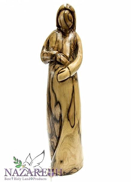 """Madera de olivo tallada a mano Virgen María Estatua de embarazadas 7.9 """"Madonna figura"""