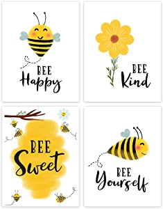 Andaz Press Nursery Kids Room Art Unframed Wall Art Poster Home Decor, 8.5x11-inch, Honey Bee Theme, Bee Kind, Bee Yourself, 4-Pack, No Frames