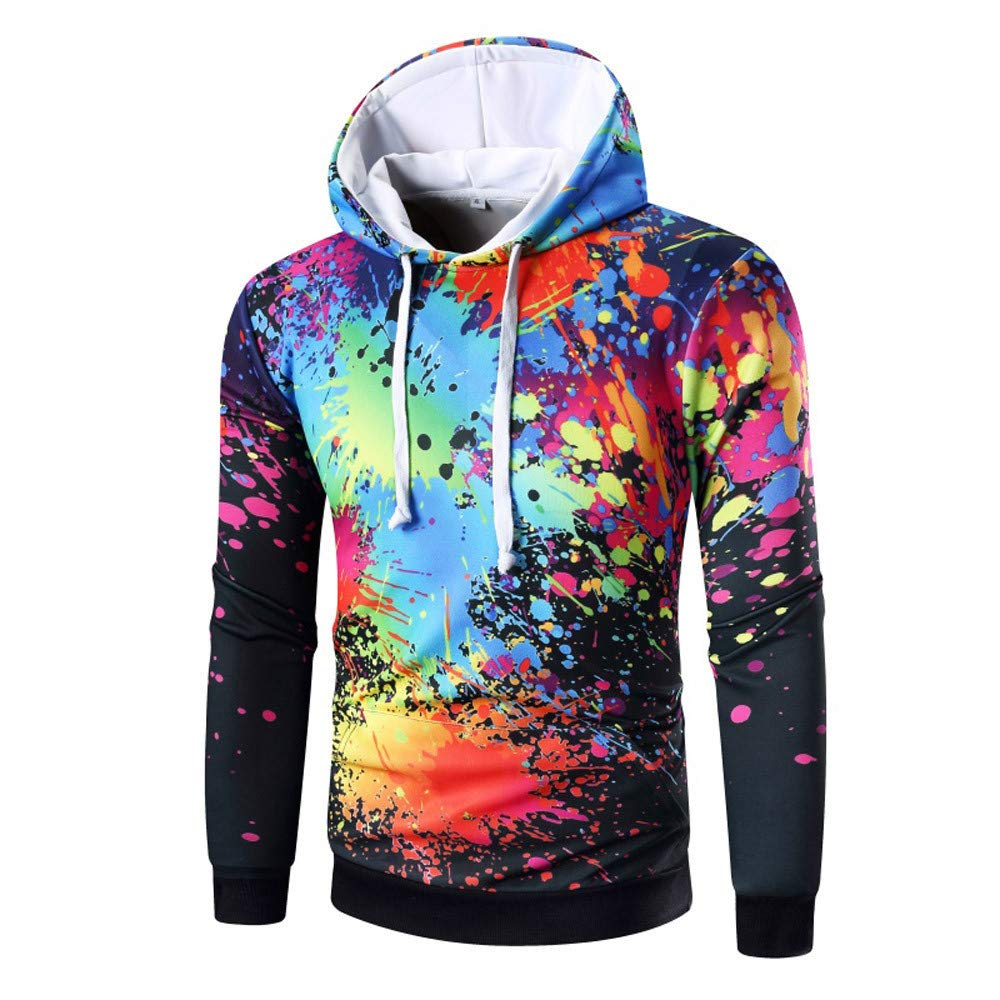 Clearance!Men's Long Sleeve Digital Print Hoodie Hooded Sweatshirt Tops Coat Outwear minRan minRan0911