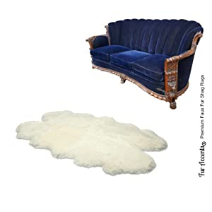Thick White Shag Rug - Faux Fur Quad Sheepskin - Branded and Bonded - by Fur Accents (4'x6')