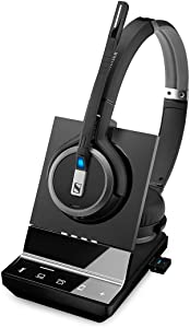 Sennheiser SDW 5066 (507024) - Double-Sided (Binaural) Wireless Dect Headset for Desk Phone Softphone/PC & Mobile Phone Connection Dual Microphone Ultra Noise Cancelling, Black