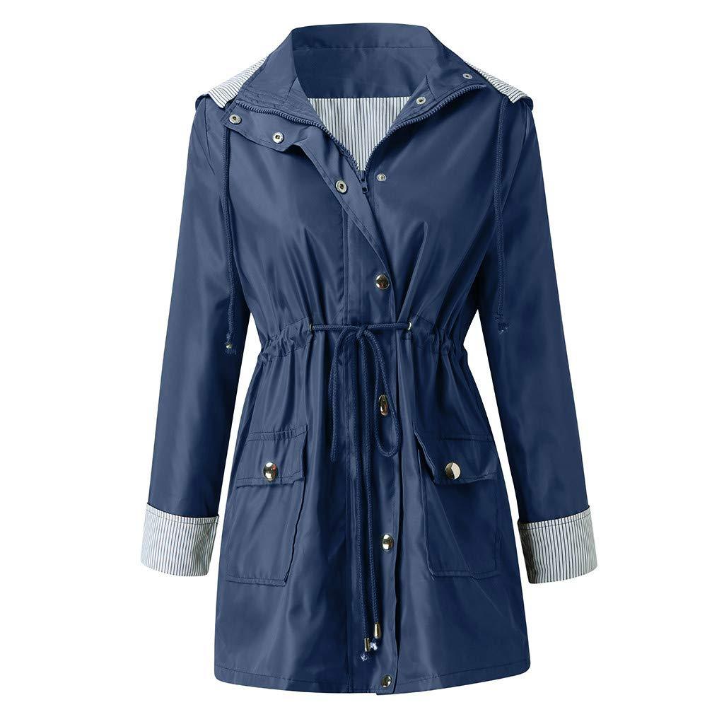 TWGONE Plus Size Rain Coats for Women with Hood Solid Jacket Outdoor Waterproof Windproof Loose Windbreaker(Small,Navy) by TWGONE