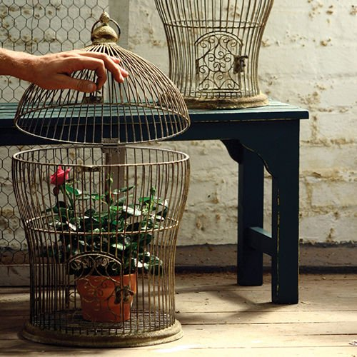 Set of 2 Decorative Antique Nesting Wire Bird Cages, Larg...