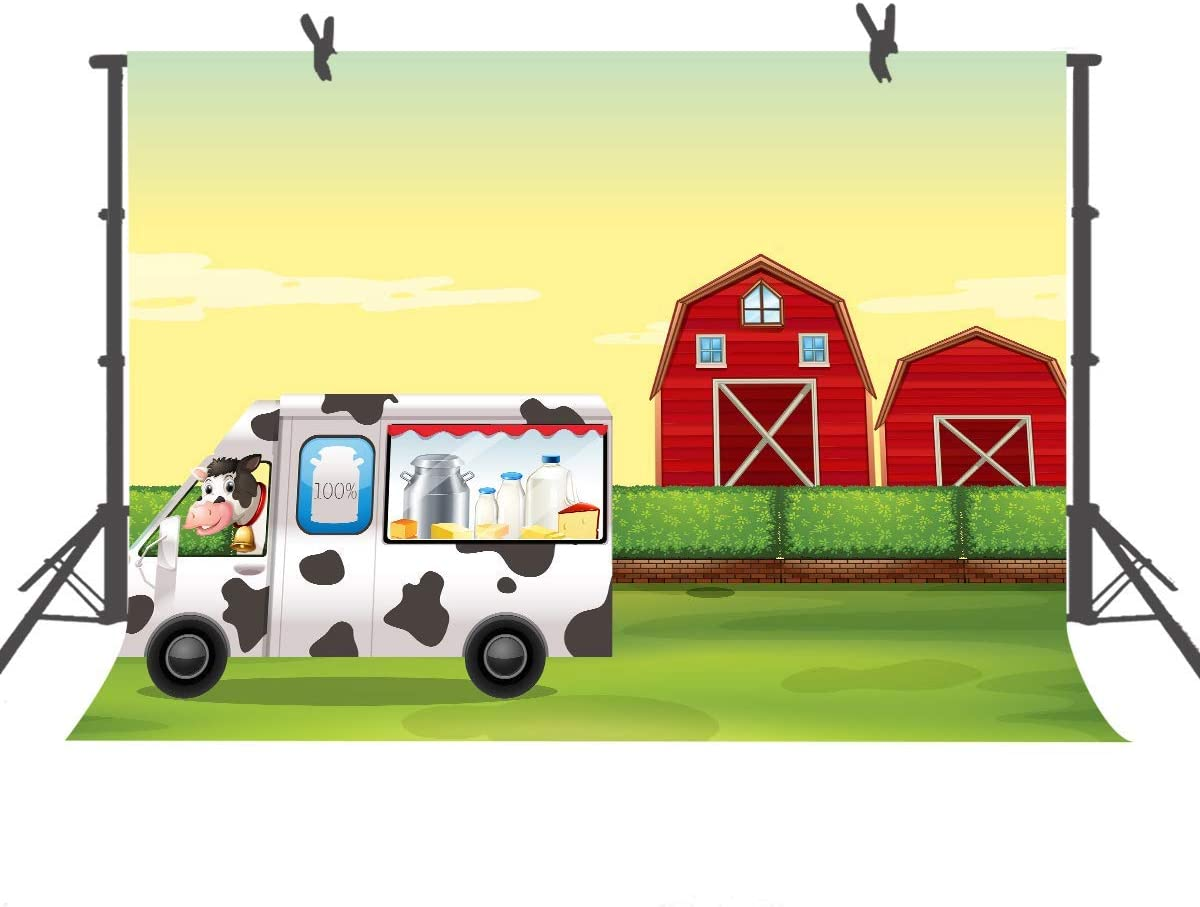 10x8ft Background Red Barn Cartoon Milk Cart Photography Backdrop Photo Props Birthday Party Cake Table Decorations DSFU046