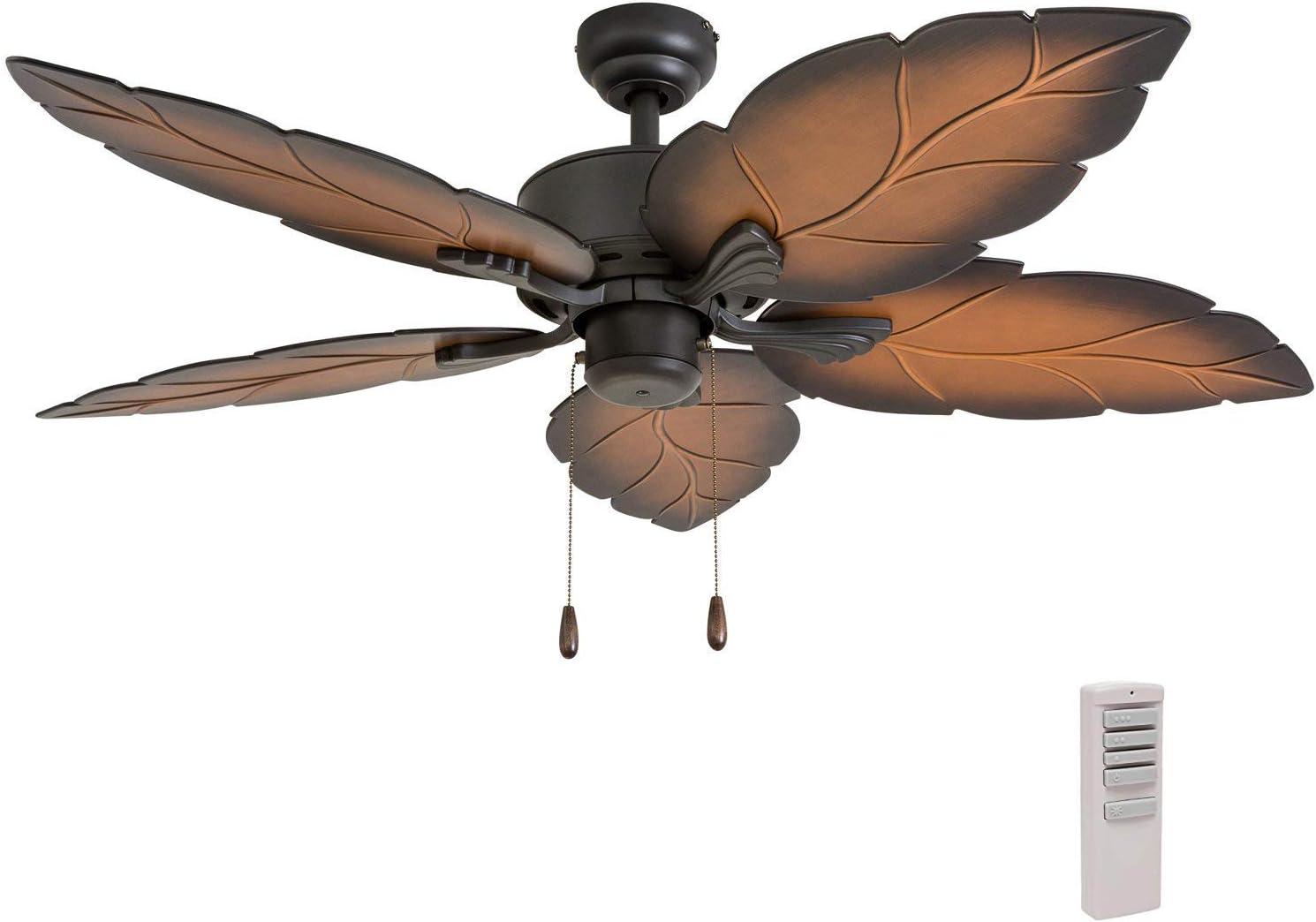 Prominence Home 50688-01 Beauxregard Tropical Ceiling Fan 3 Speed Remote 52 , Mocha, Bronze