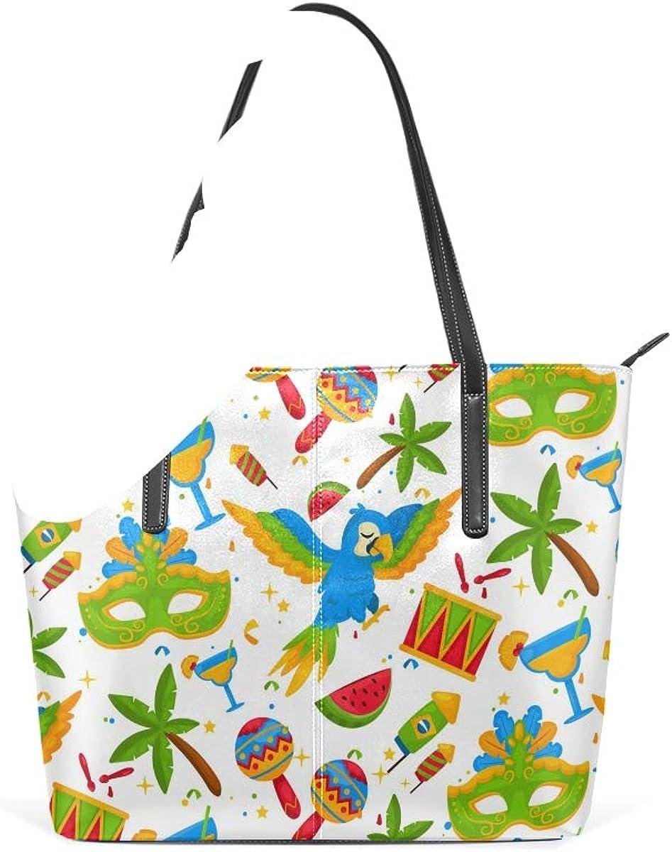 Guitars Masks Brazilian Carnival Parrot Fashion Leather Tote Shoulder Bags Handbags for Women Girls