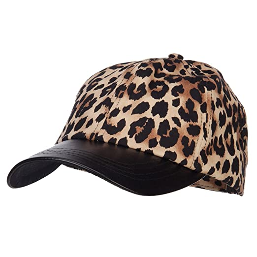 89cc0b527e9 Leopard Print Cap with Leather Bill - Brown OSFM at Amazon Women s Clothing  store