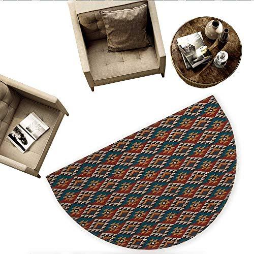 Jacquard Beige Logo - Native American Semicircle Doormat Ethnic Knitted Seem Jacquard View Fabric Geometric Image Halfmoon doormats H 78.7