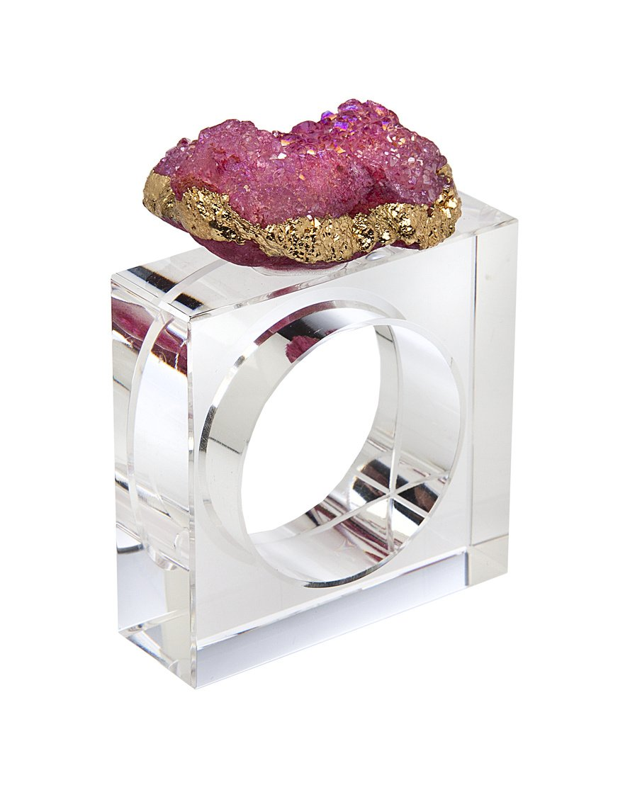 James Scott Elegant Geod Crystal Holder Rings Square Design Set of 4 -For Dinner, Parties and Everyday Use! (Pink)
