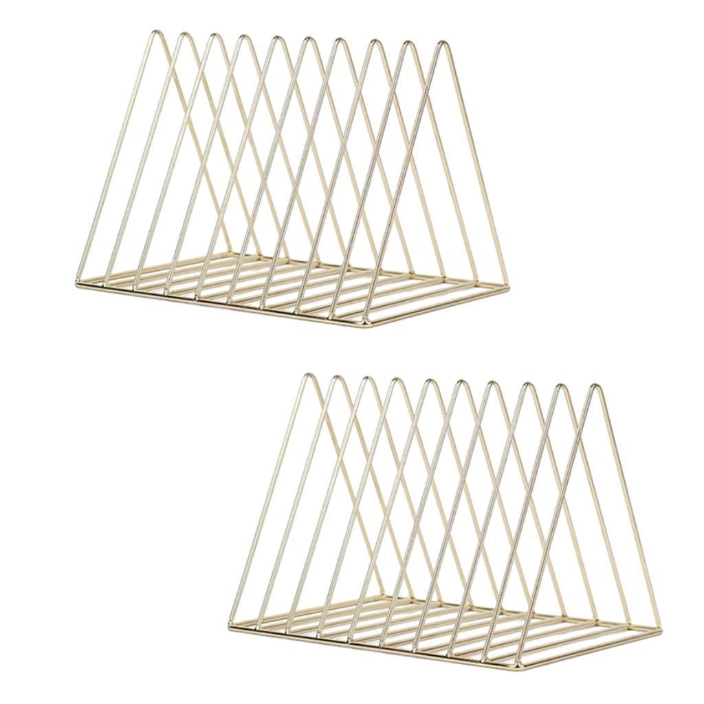Homyl 2pcs Nordic Style Metal File Organizer Triangle Desktop Storage Rack Bookshelf Magazine Holder Gold