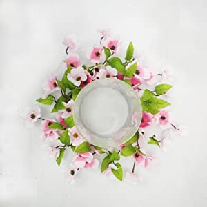 Stellar Performance Pink Dogwood Spring Candle Ring Centerpiece Table Top Decoration for Spring Summer Everyday Decorating Decorate for Easter Small Wreath 14 Inch