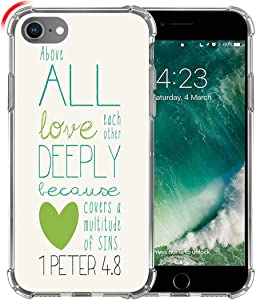 Hungo Case for iPhone SE 2020 Christian Sayings, Soft TPU Silicone Protective Cover Compatible with iPhone 8/7 / SE 2020 (SE 2) Bible Verses Theme Peter Love Sayings Motivational Lyrics