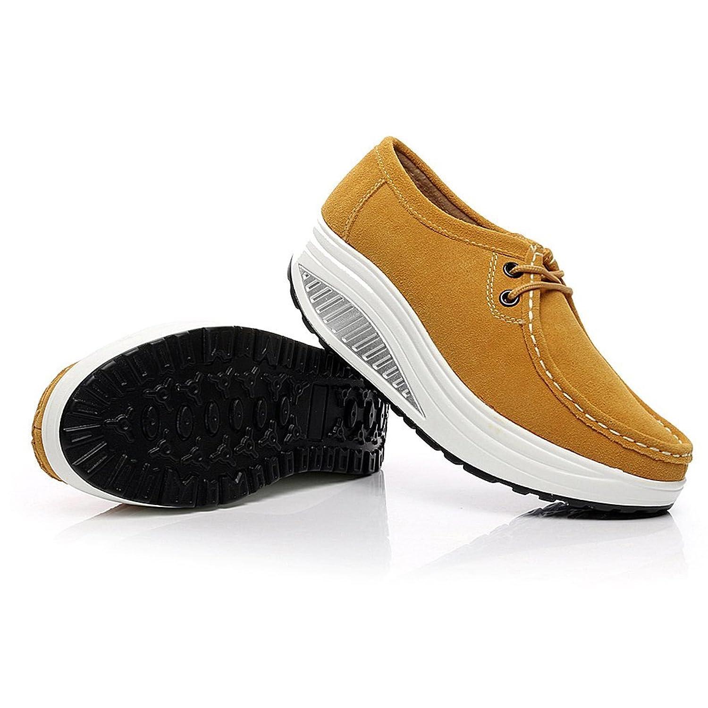 Shenn Mujer Plataforma Cuña Aptitud Ambulante Amarillo Ante Cuero Entrenadores Zapatos 1061 EU40 TQmLHMJ