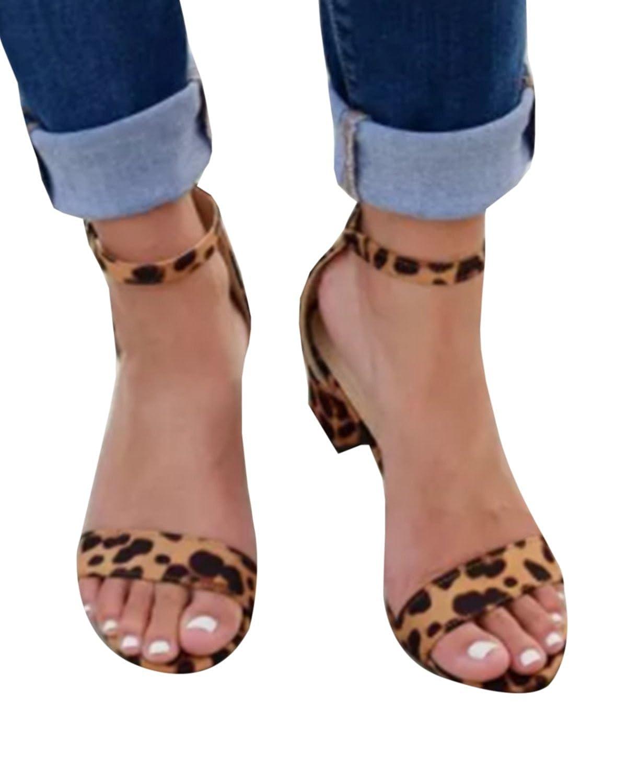 Pxmoda Womens Summer Block Heel Open Toe Ankle Strap Sandals Causal Gladiator Sandals