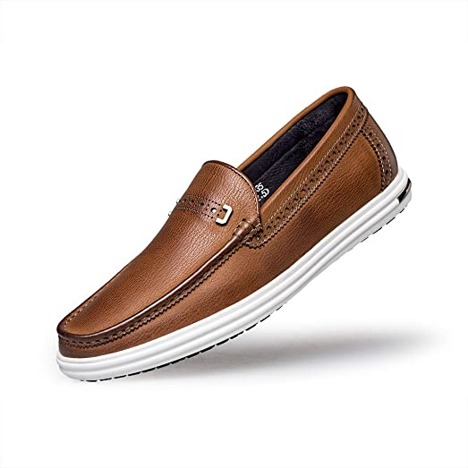 Men's Fashion Casual Bit Slip-On Moc Toe Loafer Leather Shoes