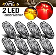 """Partsam 8pcs 2.54""""x1.06"""" Side Fender Marker Light Red/Amber Clear Lens Universal Surface Mount LED L"""