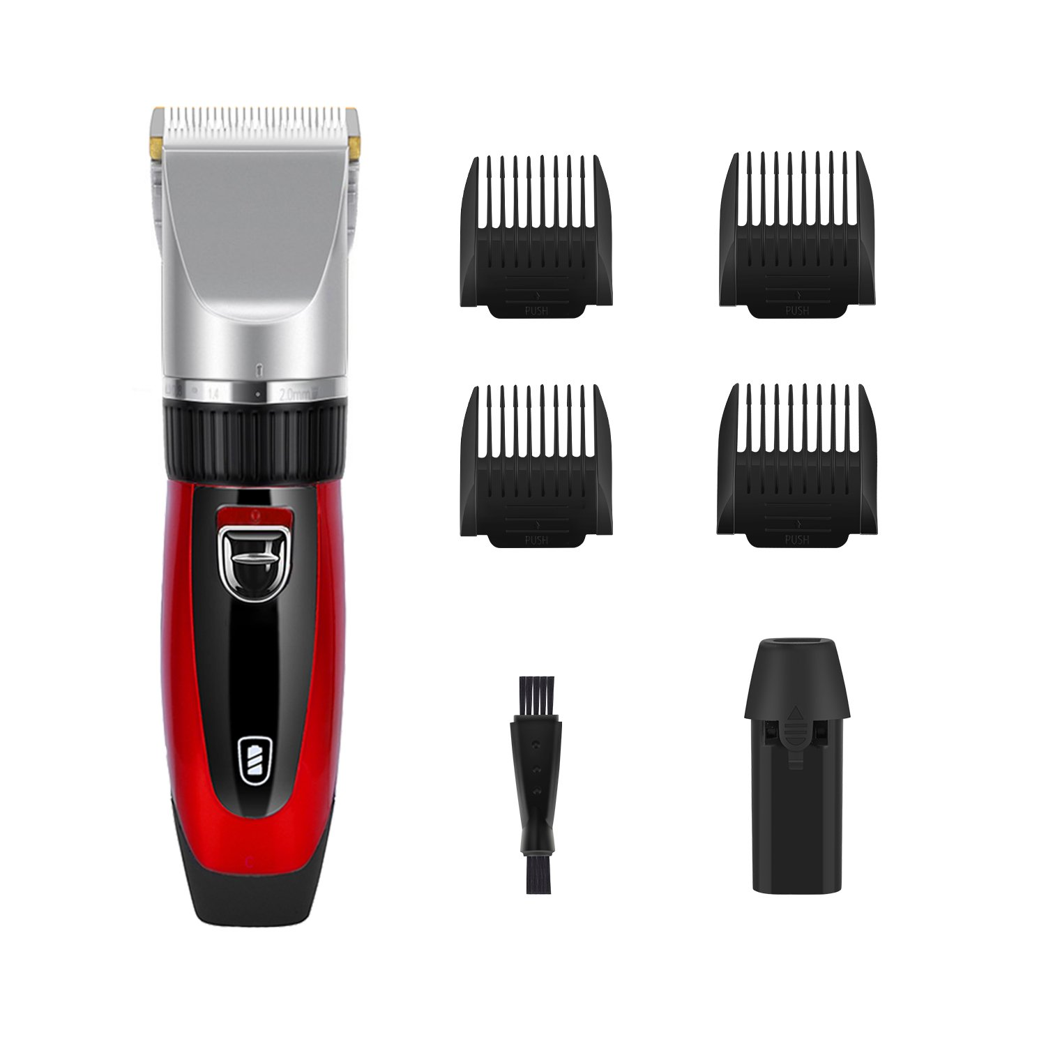 GHB Hair Clippers Hair Trimmers Electric for Men with 4 Combs Cordless Rechargeable Smile&Satisfaction