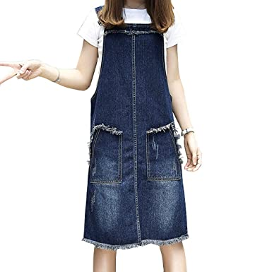 445b13b60d7 Image Unavailable. Image not available for. Color: LINGMIN Women's Casual  Denim Overalls Dress Ripped Adjustable Strap Skirt Plus Size
