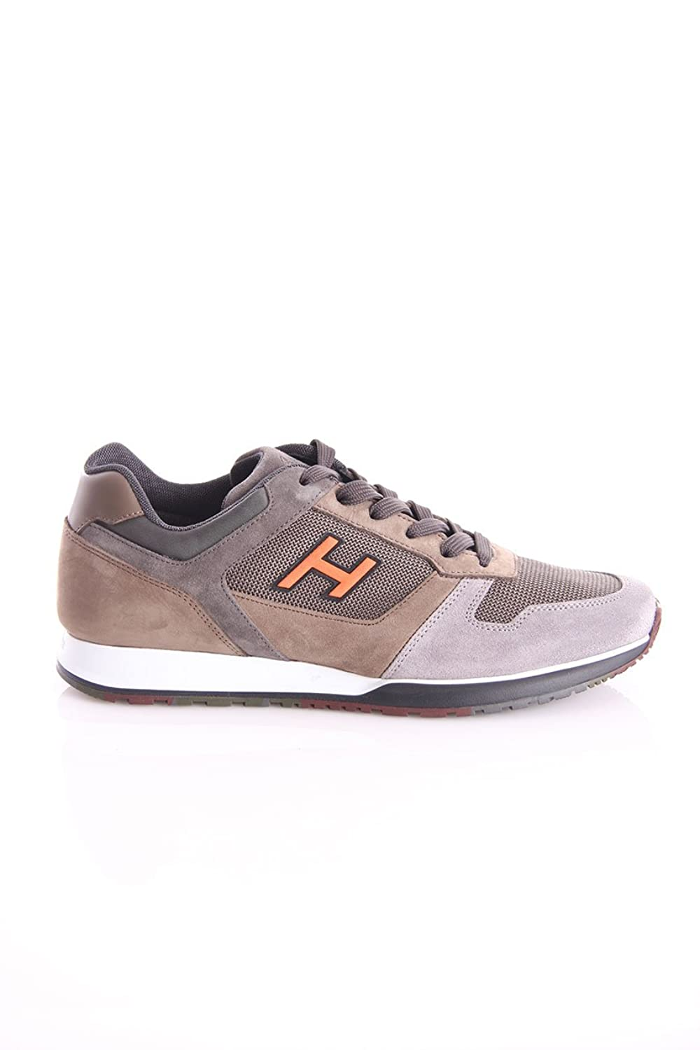 Hogan Sneakers H321 H Flock Gray and Brown, Hombre. 7,5