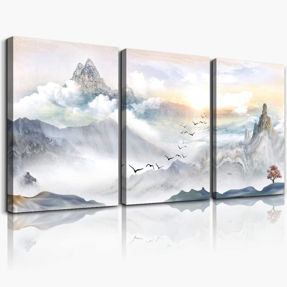 mountain Landscape Abstract painting Canvas Wall Art for living room bathroom Wall Decor for bedroom kitchen artwork Canvas Prints 3 Pieces Modern framed office Home decorations watercolor picture