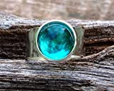 Recycled Vintage Mason Jar Glass Gem Adjustable Ring