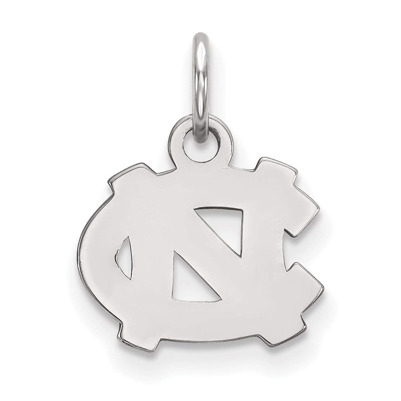North Carolina Tar Heels School Letters Logo Disc Pendant in Sterling Silver