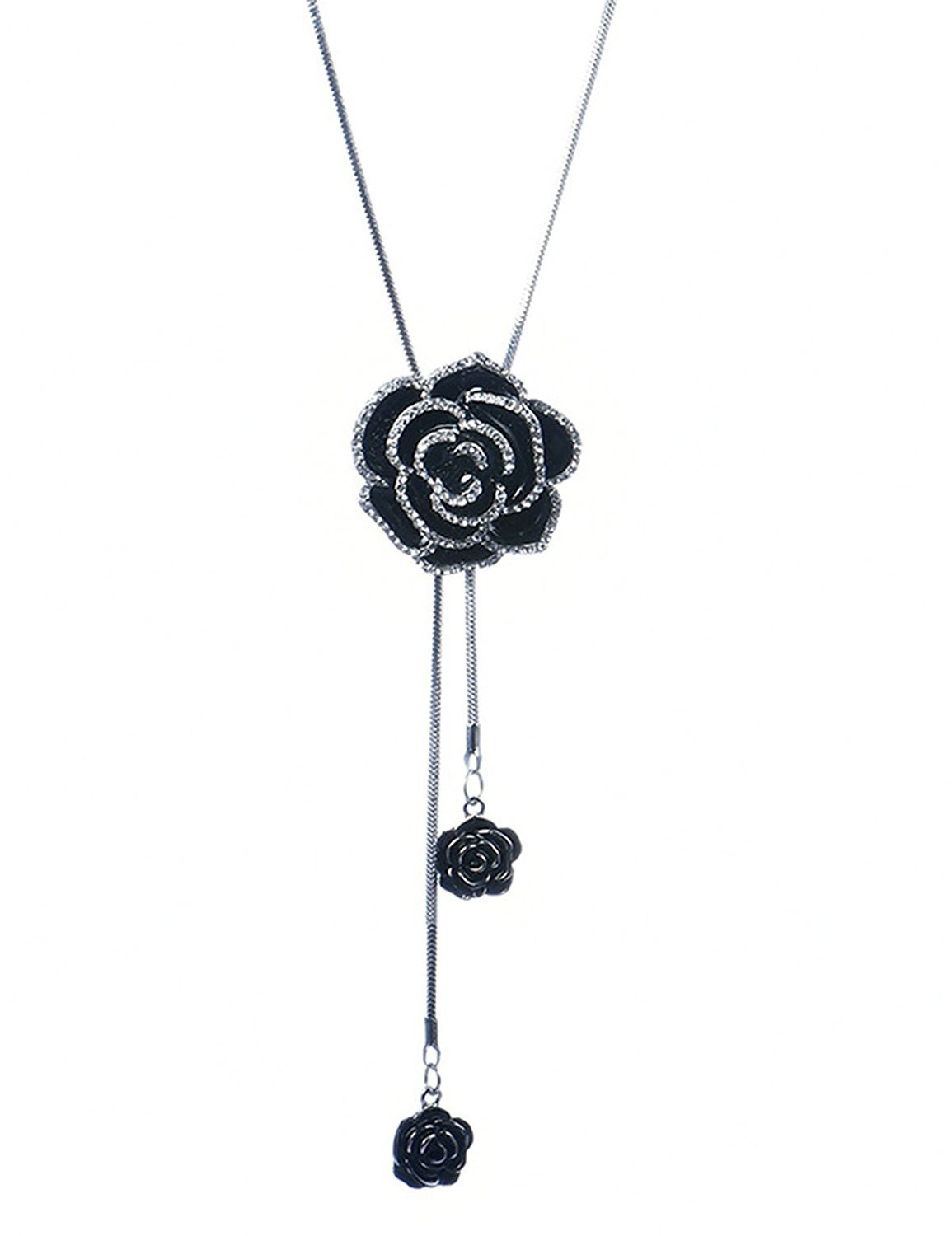 Gexo Tassel Long Chain Sweater Necklace for Women Rhinestone Rose Shape Pendant Necklace Fashion Jewelry Tassel Necklace