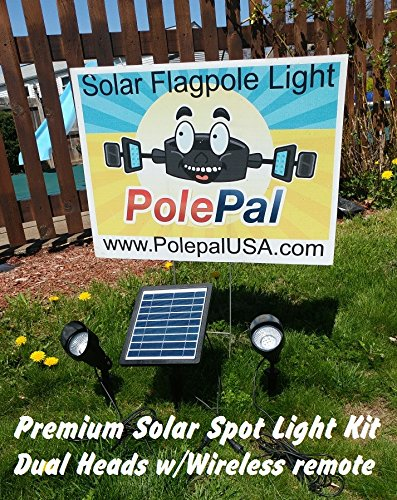 PolePalUSA Premium Solar Spotlight Kit with Dual Heads & Wireless