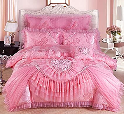 Amazon.com : 9pcs Lace bedcover set red/pink luxury wedding ...