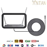 ANTAN DVB-T655VA Indoor TV Antenna 25-35 Miles Range -Support 8K 4K 1080P UHF VHF Freeview Channels with Longer 10ft Coaxial