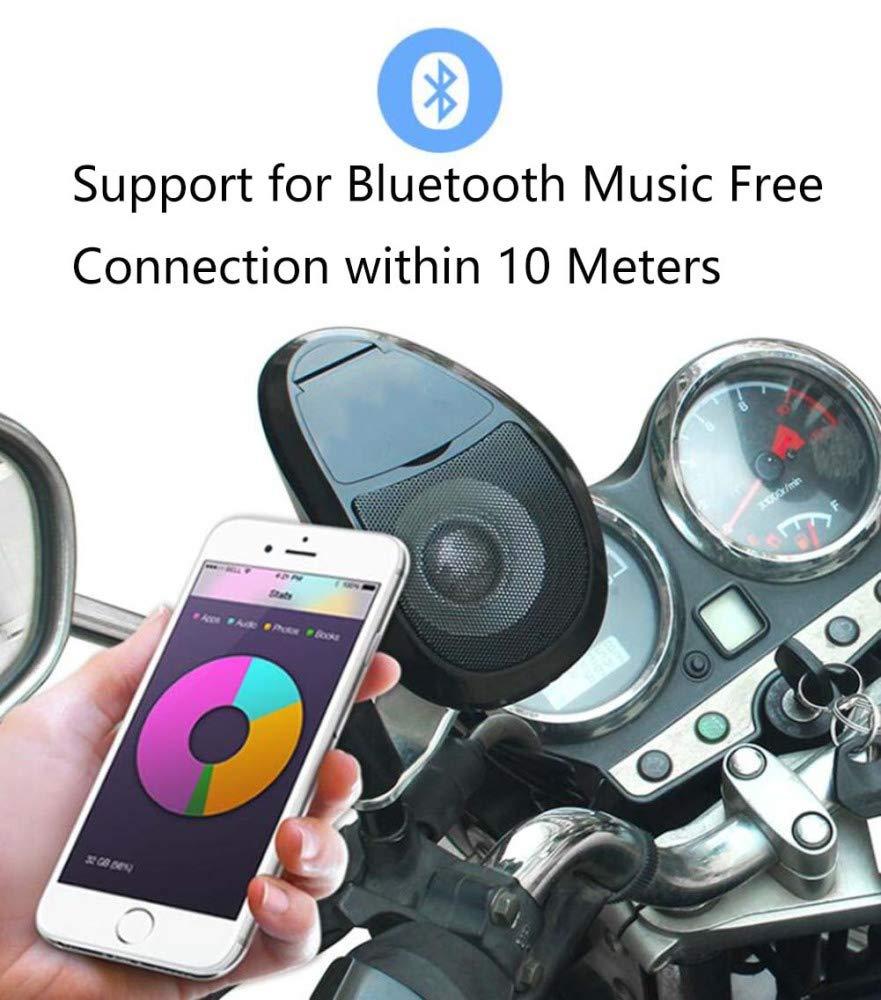 AQWWHY 12V Etanche Moto Moto Scooter Audio Syst/ème Guidon TF//FM MP3 Bluetooth St/ér/éo Haut-Parleur Audio Syst/ème Audio avec Lumi/ère 1 Paire