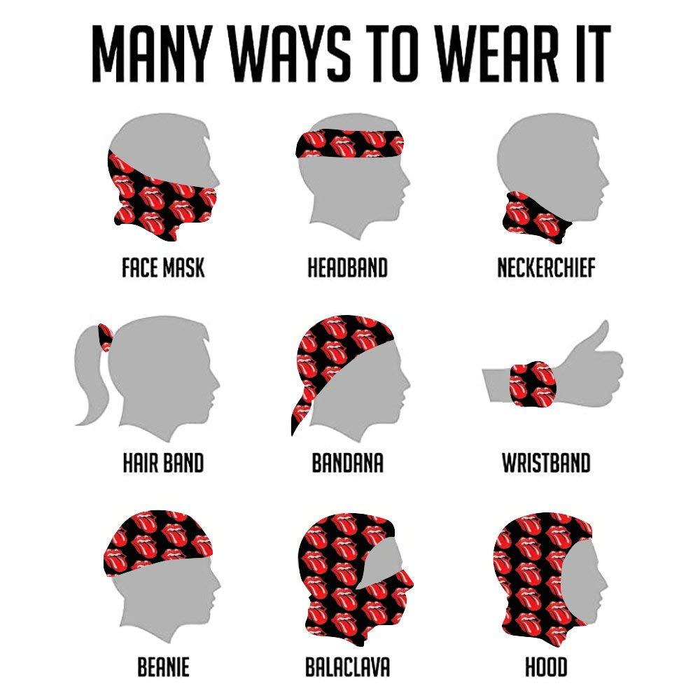 Rolling Stones Mascarilla de cara nueva m/áscara de moda a prueba de sol Bandana Headwear