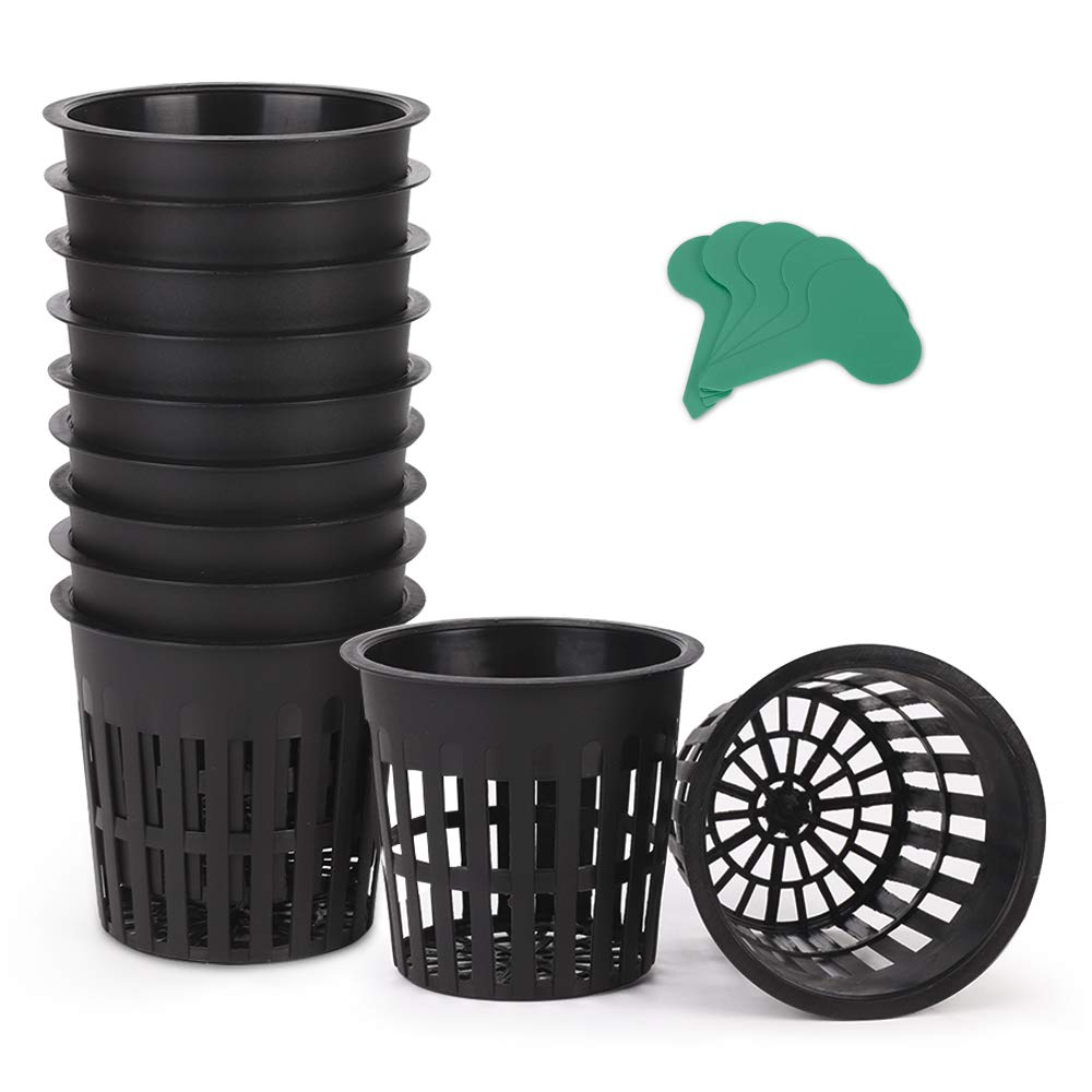 GROWNEER 25-Pack 4 Inch Garden Slotted Mesh Net Cups, Heavy Duty Net Pots with 25Pcs Plant Labels, Wide Lip Bucket Basket for Hydroponics