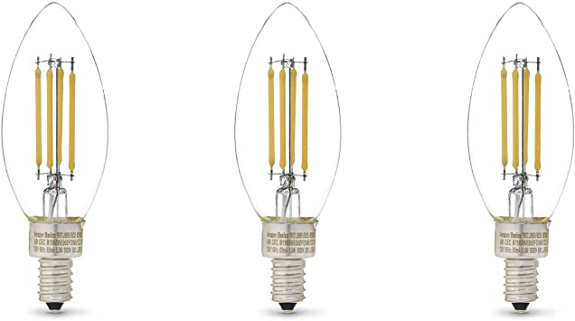Soft White 60W LED Clear B11 E12 3 Pack Dimmable Energy Star Rated Light Bulbs Lighting Science