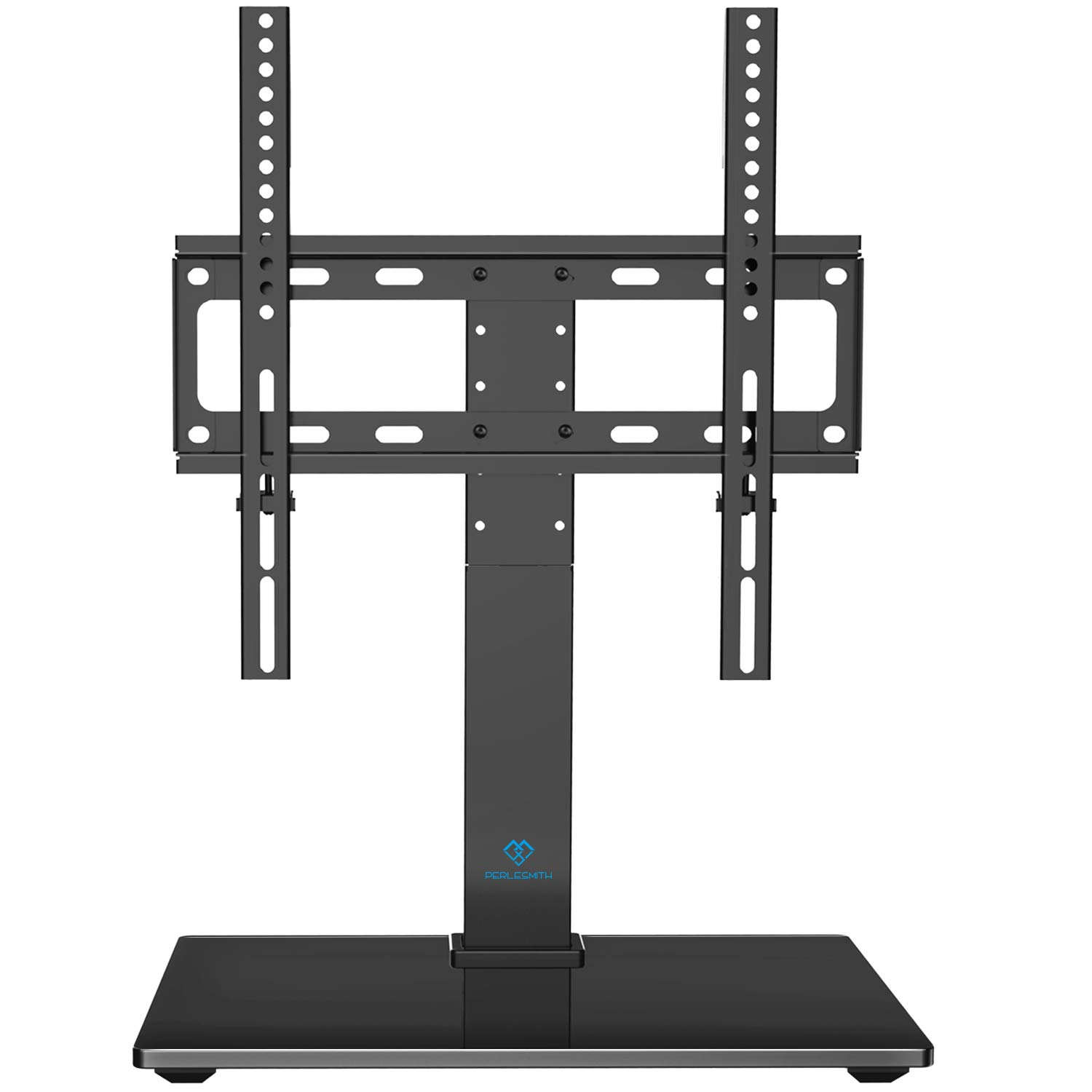 PERLESMITH Universal Swivel TV Stand - Table Top TV Stand for 26-55 Inch LCD LED TVs - Height Adjustable TV Mount Stand with Tempered Glass Base, VESA 400x400mm, Holds Up to 88lbs by PERLESMITH