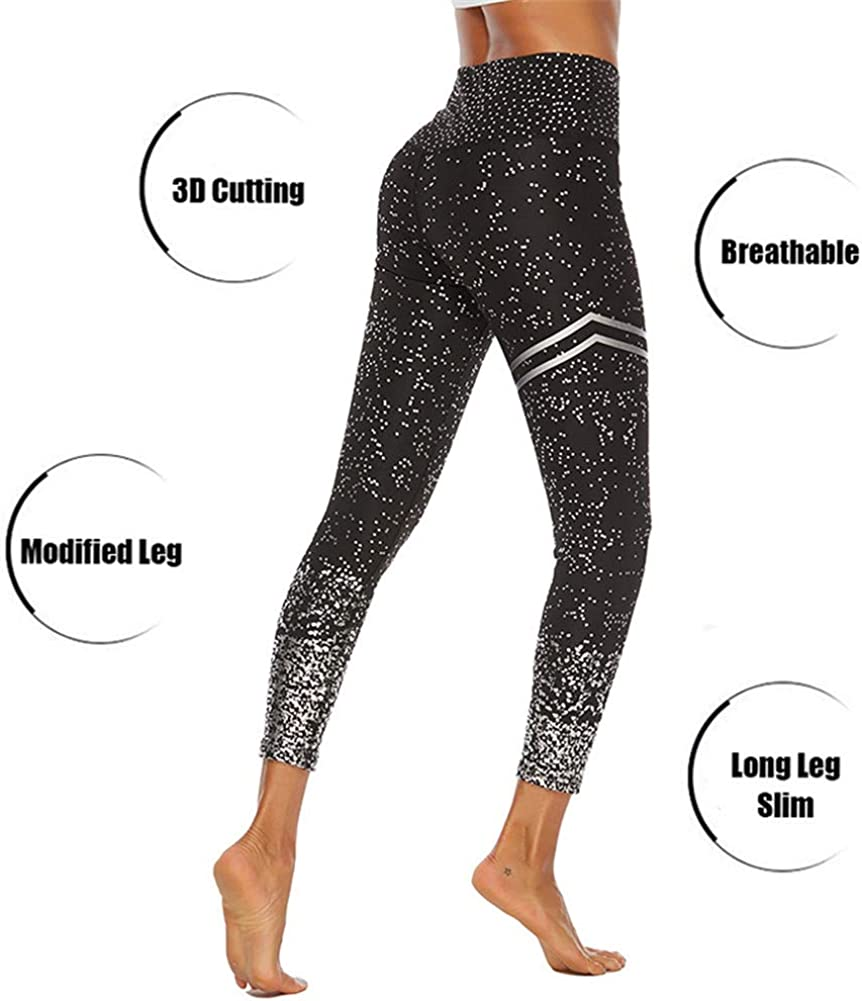 SotRong Womens High Waist Yoga Pants Seamless Gym Leggings Tummy Control Butt Lift Glittler Shiny