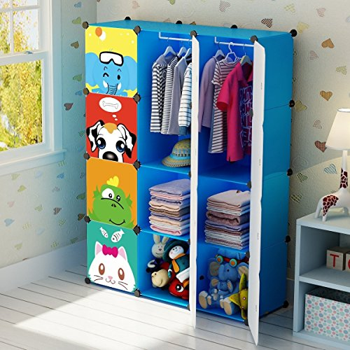KOUSI Portable Kid Wardrobe Child Dresser Hanging Storage Rack Clothes  Closet Bedroom Armoire Cube Organizer, Blue, 8 Cubesu00262 Hanging Sections