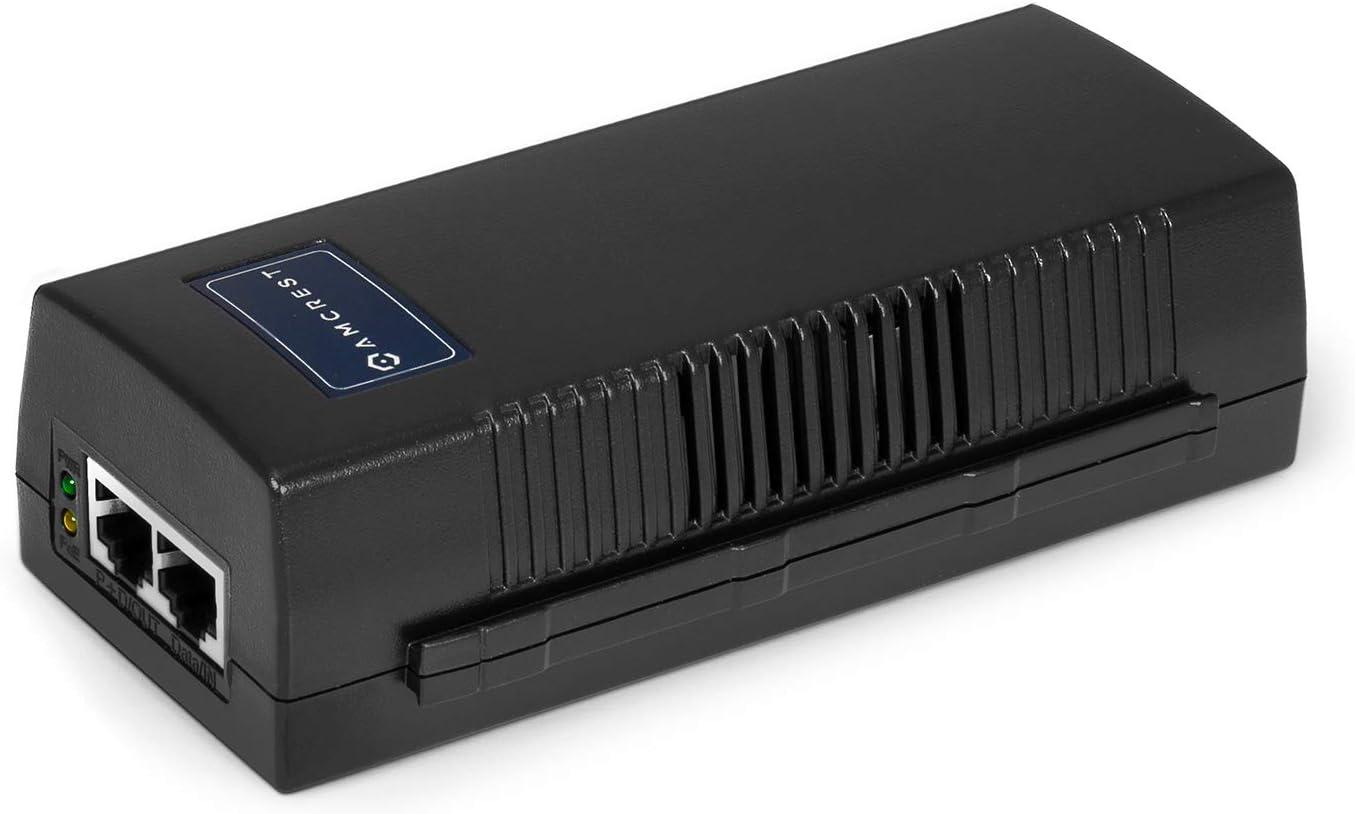 Amcrest Active Gigabit PoE Injector Adapter, IEEE 802.3 10BaseT and IEEE 802.3u 100BaseTx Compliant, Up to 100 Meters; FSE801G